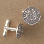 silver three penny cufflinks