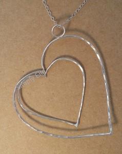 Open heart pendant large